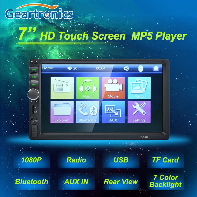 2 Double Din <font><b>7018B</b></font> Car <font><b>MP5</b></font> Player 7 Inch Touch Screen Auto Car MP4 Video Player Radio Remote Control Support Rear View Camera image