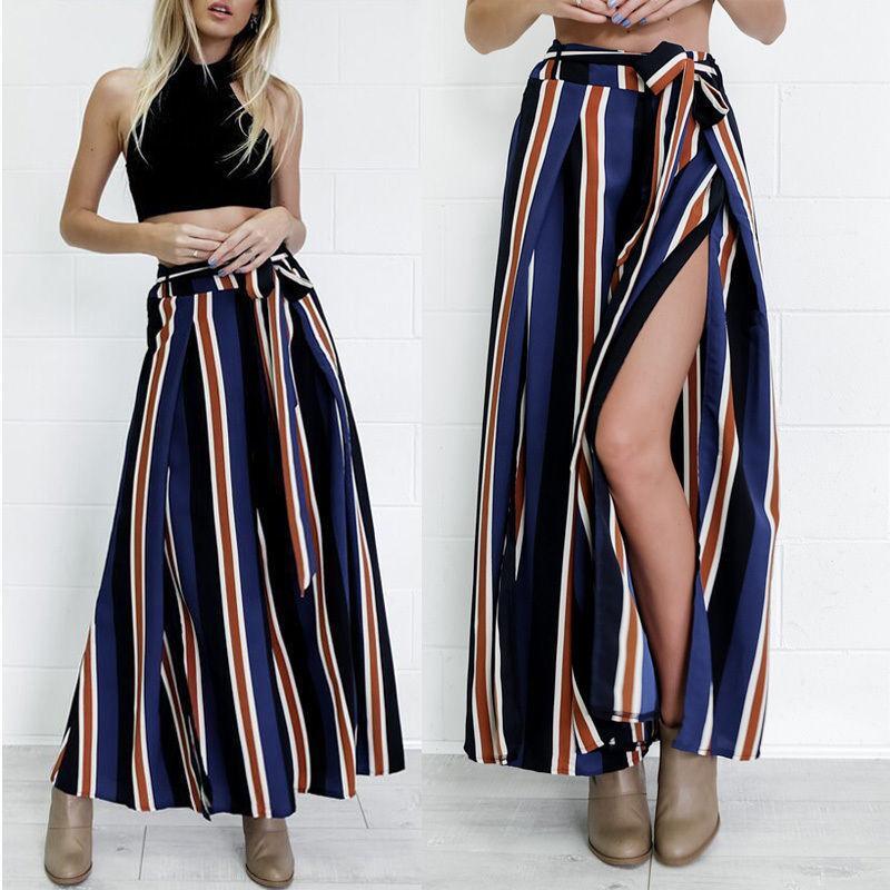 2018 New Brand Hot Fashion Women Striped Palazzo   Wide     Leg     Pants   Women High Waist Loose Long Retro Casual Trousers
