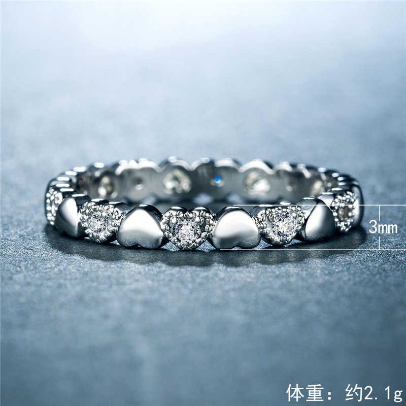 แฟชั่นหัวใจ zircon ฝังแหวน Cubic Zirconia หมั้นแหวนแต่งงานสำหรับผู้หญิงผู้ชายขายส่งเครื่องประดับ B2099