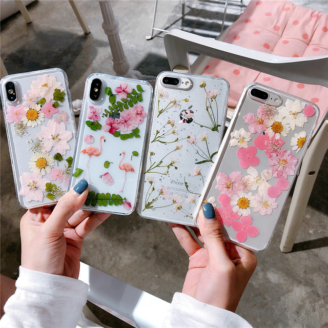 on sale 6de9c 264cd US $4.99 |Dried Real Flower Phone Cases For iphone 6 6s plus For iphone 7 7  plus 8 8 Plus X Transparent Soft TPU Case Back Cover-in Fitted Cases from  ...