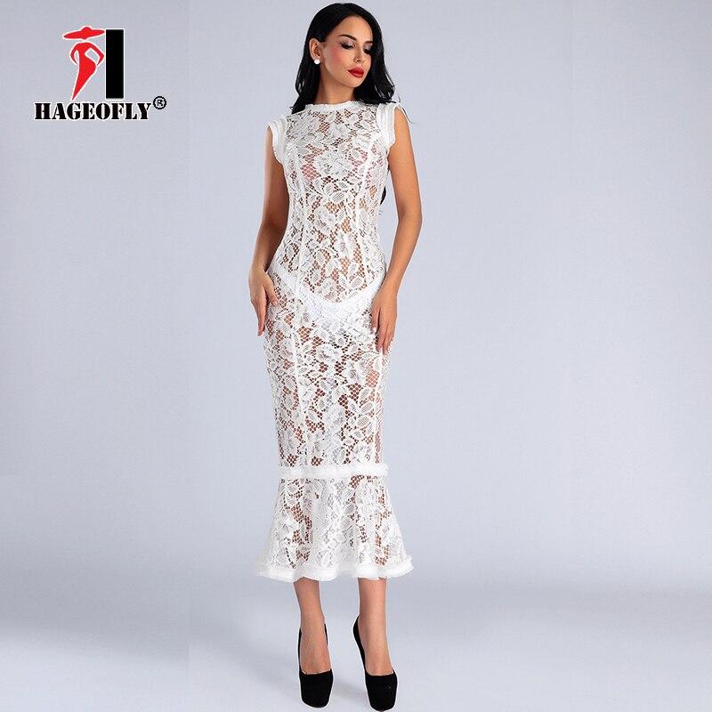 Haute qualité Sexy blanc O cou dentelle sans manches moulante gaine Midi piste robe d'été parti Club volants sirène femmes robe