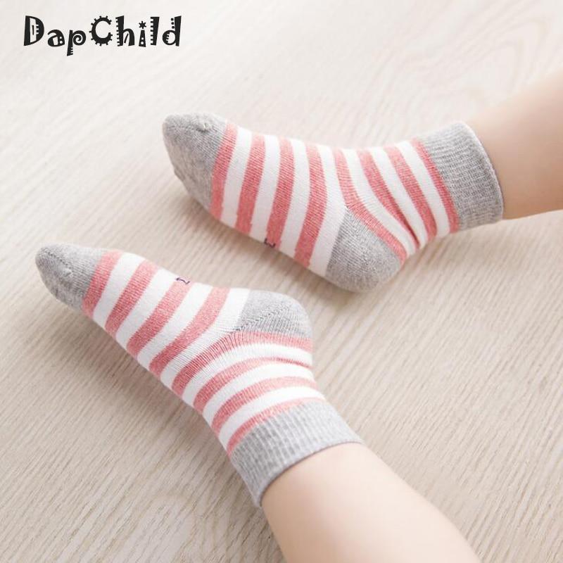 цена на 5 Pairs/Pack Baby Socks Cotton Socks For Boys Girls Children Fashion Stripe Casual Socks Kids Set Of Sock for Children Newborn