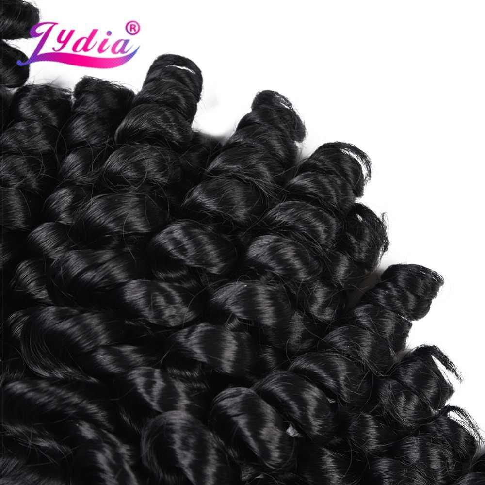 Lydia Synthetische Bouncy Krullend Haar Extensions 1 st Natuurlijke Zwarte weven Met Dubbele Inslag Wave Voor Vrouwen Haar Bundels