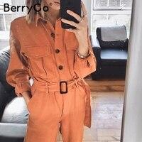 BerryGo Casual cargo cotton female jumpsuits Orange sash pocket sport womens jumpsuit romper Chic autumn winter ladies overalls