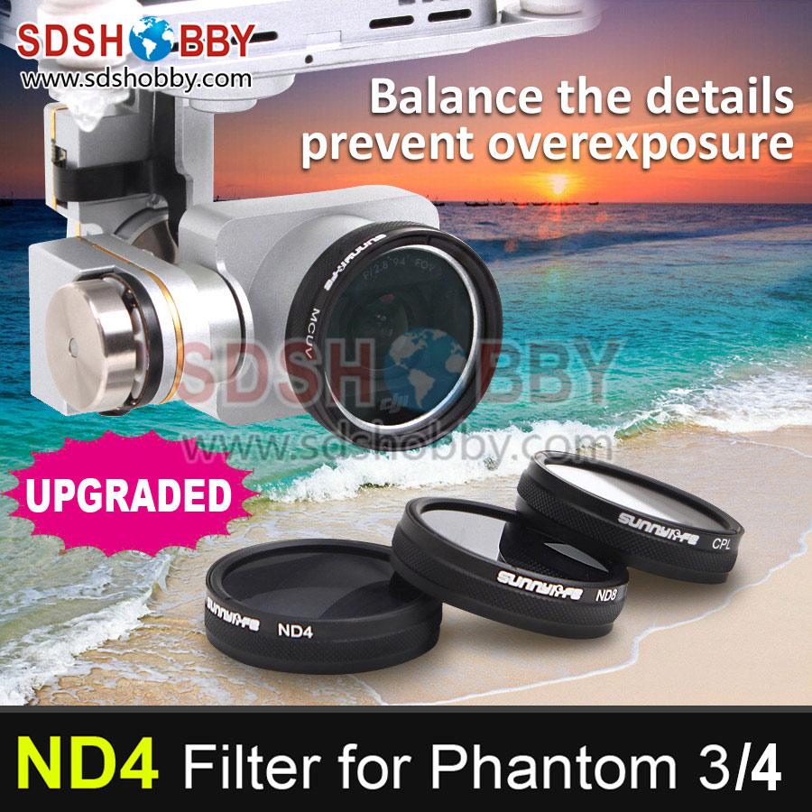 Sunnylife DJI Phantom 3/4 Accessory ND4 Dimmer ND-4 Light Microscopy Lens Filter for Phantom 3 ProfessionalAdvancedStandard