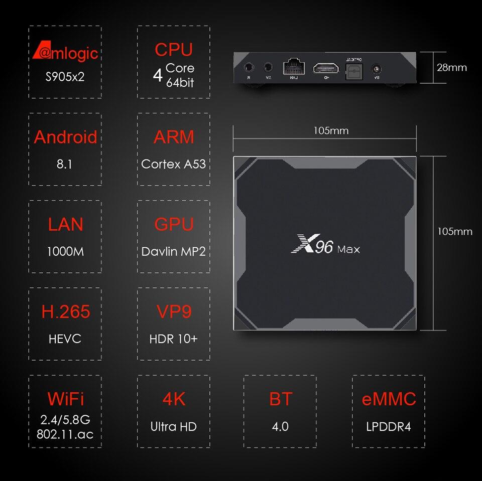 X96Max boîtier de smart tv Android 8.1 Amlogic S905X2 LPDDR4 Quad Core 4 GB 32 GB 64 GB 2.4G & 5 GHz wifi BT 1000 M 4 K Set top box X96 Max