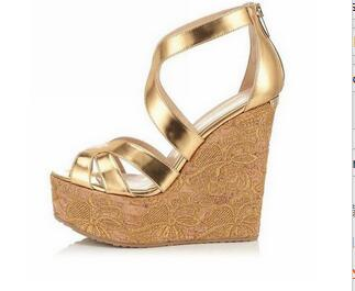 f719ff5241bc54 open toe wedges high lace heels back zipper golden black party weeding women  sandals shoes cut-out best quality newest fashion