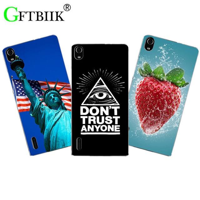 Fashion Cute Cartoon Phone Case For Huawei Ascend P7 P7-L00 P7-L05 P7-L10 P7-L11 Cover Animal Flower Flag Printing Back Shell