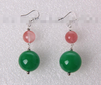 FREE SHIPPING>>> free shipping 12313 round green jade 10mm pink crystal dangle earrings