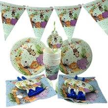 Omilut Jungle Animal Party Decor Safari Disposable Tableware Set Birthday Supplies Cake Cupcake