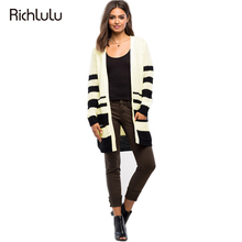 RichLuLu Apparel Women Fashion Sweater Black White Color Block Knitted Warm Casual Cardigans Stripe Loose Female Sweaters