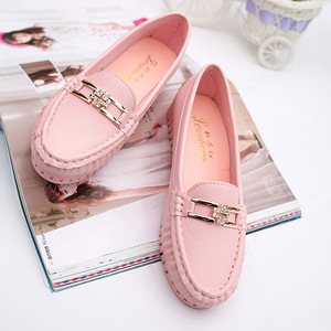 Image 1 - Summer Soft Leather Loafers Women Shoes Blue Black Pink Slip On Casual Shoes Women Flats Moccasin White Nurse Shoes Ladies Flats