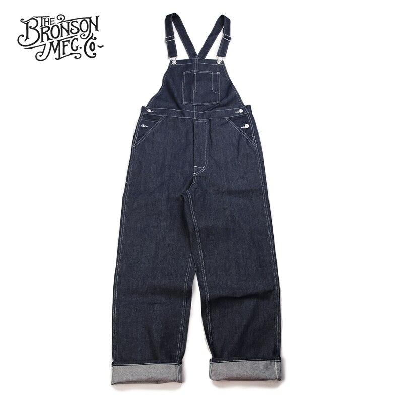 برونسون خمر 1920 s الدنيم أفرول الرجال عمال السراويل Selvedge عالية الارتفاع-في جينز من ملابس الرجال على  مجموعة 1