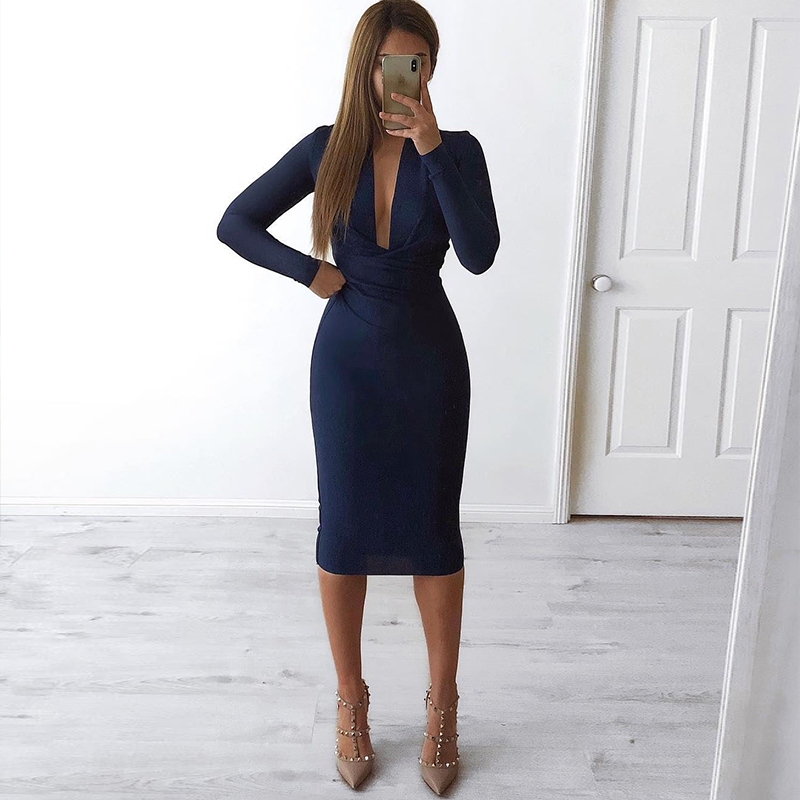 Ocstrade Christmas Party 2019 New Arrival Navy Blue Sexy Bandage Dress Winter Deep Plunge Neck Women Long Sleeve Bandage Dress