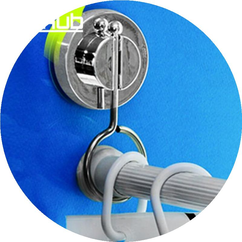 Vacuum Suction Cup Bathroom Rack Shower Curtain Rod Hanging Ring DEHUB Rods Stand Srong Cornices Silver