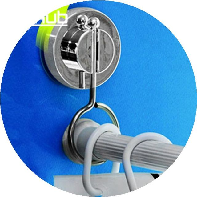Vacuum Suction Cup Bathroom Rack Shower Curtain Rod Hanging Ring ...