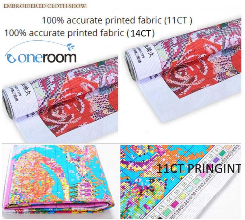 14/16/18/27/28 น้ำมันภาพวาด Town ทำด้วยมือเย็บปักถักร้อย DIY DMC Cross Stitch ชุด Home decor wall Art