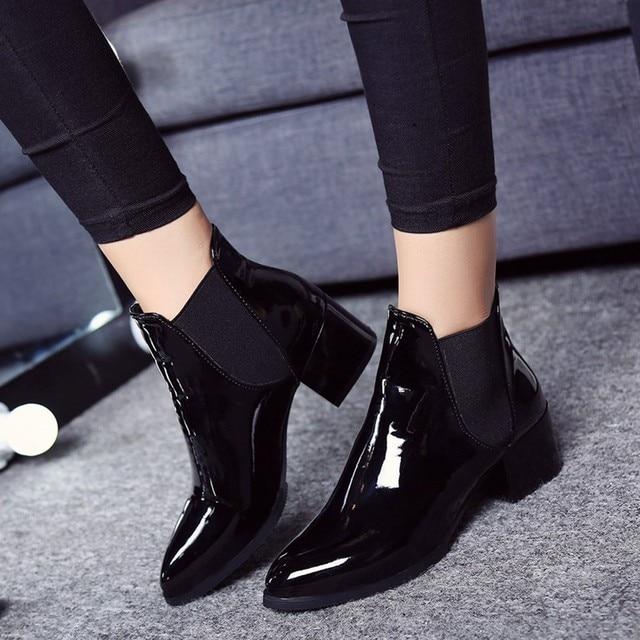 Moda ayakkabılar Kadın Elastik Rugan Çizmeler Sivri Düşük Topuk Çizmeler botines mujer 2018
