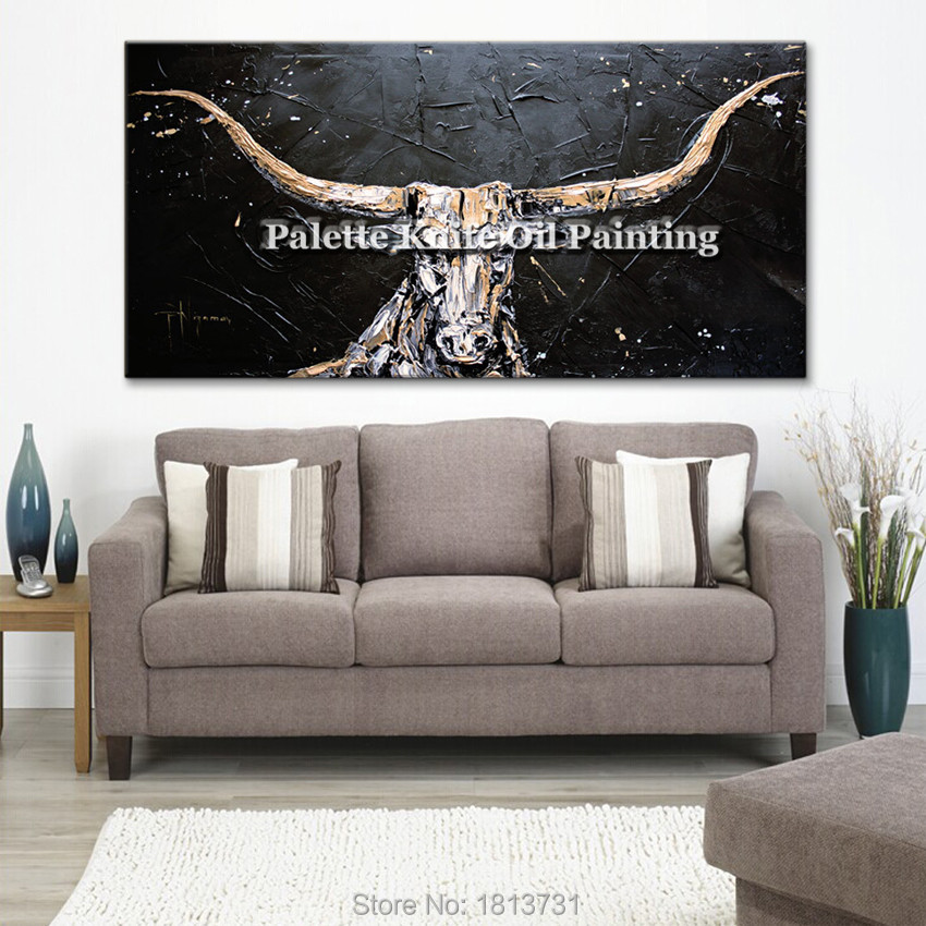 Canvas painting Cow acrylic painting Wall art Pictures For Living Room Home decor pop art animal art qudraos caudros decoracion7