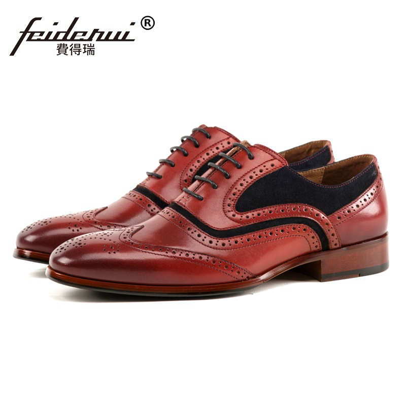 Famous Luxury Round Toe Man Formal Dress Wingtip Brogue Shoes Genuine Leather Carved Men's Handmade Wedding Party Oxfords SS244 luxury formal dress man carved brogue shoes genuine leather round toe men s oxfords handmade wedding party footwear js88