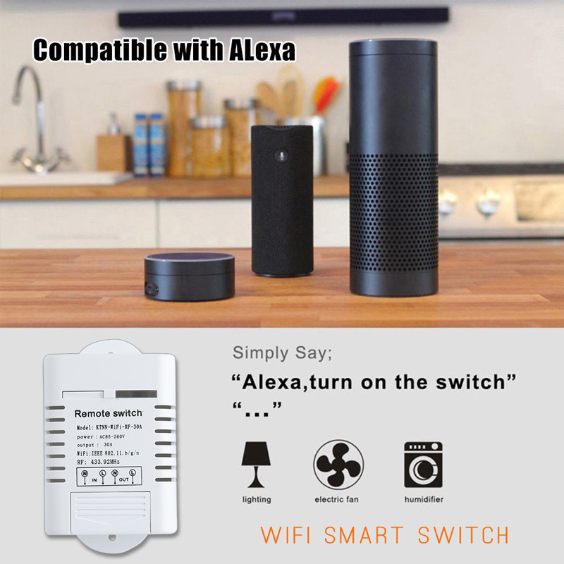 Compatible with Alexa /& Google Home Black Wi-Fi+Remote Control Water Heater Timer KTNNKG 30amps Smart Pump Switch Touch Panel Transmitter Paired Well