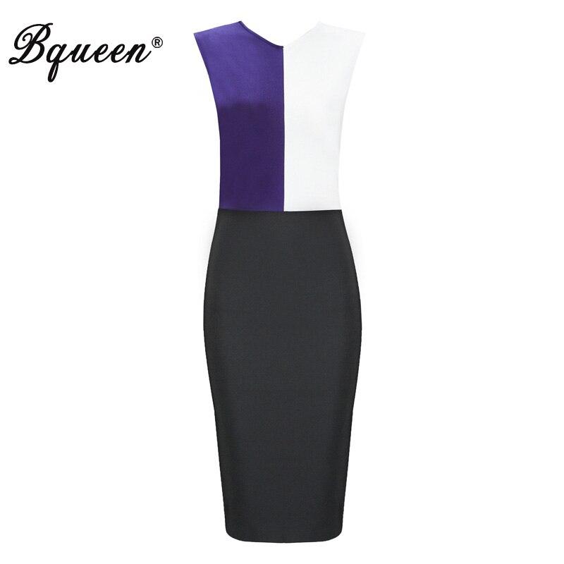 Bqueen mode O cou moulante printemps femmes Bandage robe solide Midi sans manches trois couleurs femmes bureau robe Vestidos 2019 nouveau