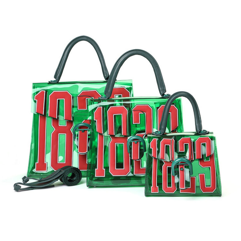 2019 Summer  women's 3D letter transparent bag fashion green clear beach bag three sizes handbag buckle jelly bag-in Shoulder Bags from Luggage & Bags    1