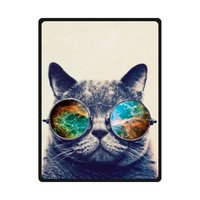 Comfy Sunglasses Cat Galaxy Hipster Cat Theme Funny Cat Wear Color Sunglasses Blanket Fleece Throw Blanket