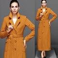 Осень Весенняя Мода Женская Элегантный отложным Воротником Orange Желтый Длинный Плащ, женский Тонкий Случайные Пальто Женщина Верхняя Одежда