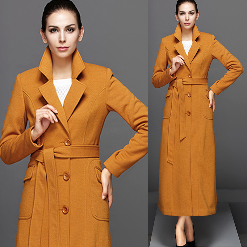 Autumn Spring Fashion Womens Elegant Turn-down Collar Orange Yellow Long Trench  Coat , Female - Compare Prices On Yellow Trench Coat- Online Shopping/Buy Low