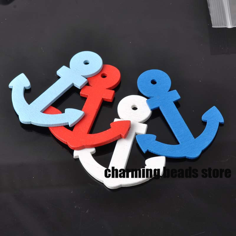 30pcs 48x60mm Mixed anchor painted wooden Scrapbooking Carft for decoration MT0158
