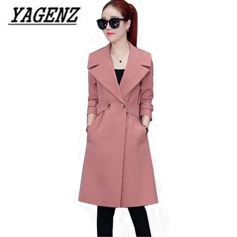 Female Windbreaker 2018 Spring New Korea Slim Temperament Women'S Long Coat Casual Solid color Long-sleeved Ladies Trench Coats