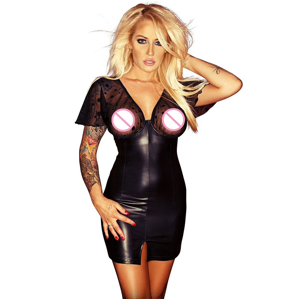 Women Mesh Club Transparent Mini Dress Wetlook Kleid Vinyl Leather Clubwear Vedtido De Festa Sexy Nightwear Club Party Dresses