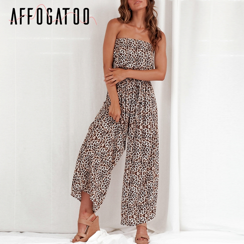 Affogatoo Sexy elegant off shoulder   jumpsuit   women Sashes   jumpsuit   long romper Summer solid leopard print overalls playsuit 2019