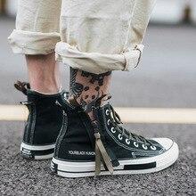 Высокая парусиновая обувь мужские кроссовки на шнуровке унисекс Повседневная обувь с боковой молнией классический ретро стиль черный Высокое качество женские