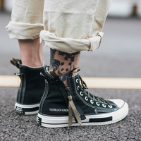 High Top Canvas Shoes Men Sneakers Lace up Unisex Casual Shoes with Side Zipper Classic Retro Style Black High Quality Female