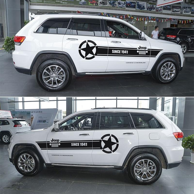 JHO Personnalisé Tout De Voiture Corps Autocollants Pour Jeep Grand Cherokee 2014-2018 2015 2016 2017 Dessin Lignes de Vinyle de Décalque car Styling
