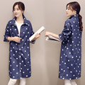 New 2015 Fall Fashion Stars Printed Denim Trench Coat Women Wide-Waisted Jeans Trench Hot Sale Casual Style Outwear Trench Coat