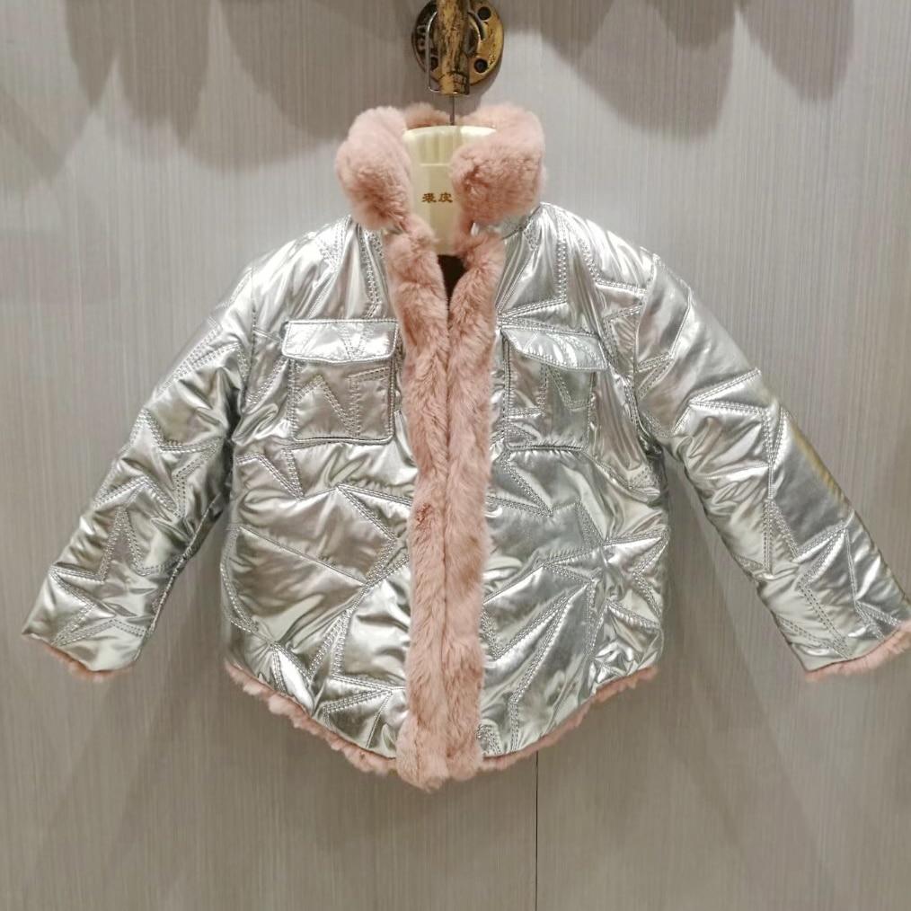 Здесь можно купить  Winter Girls Natural Rabbit Fur Jacket Both Sides Wear Boys Warm Coat Fashion Silver Kids Outwear Clothes  Детские товары