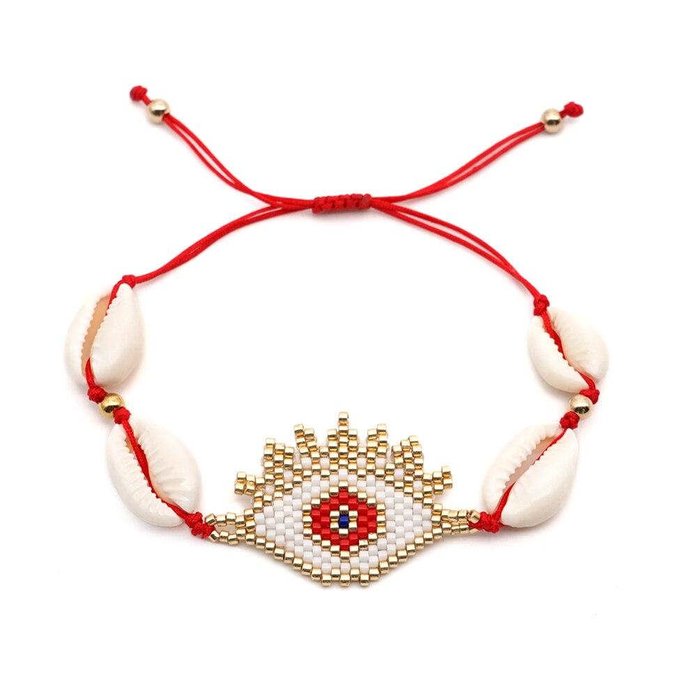 Shinus 10pcs lot MIYUKI Bracelet Shell Evil Eye Bileklik Bead Loom Bijoux Handcrafted Joyeria Mexicana Jewelry insta Fashion DIY in Strand Bracelets from Jewelry Accessories