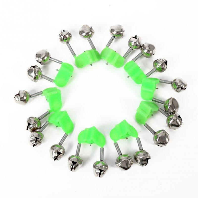 10 Pcs Bells Ring Green ABS Fishing Accessory Fishing Rod Bells Rod Clamp Tip Clip