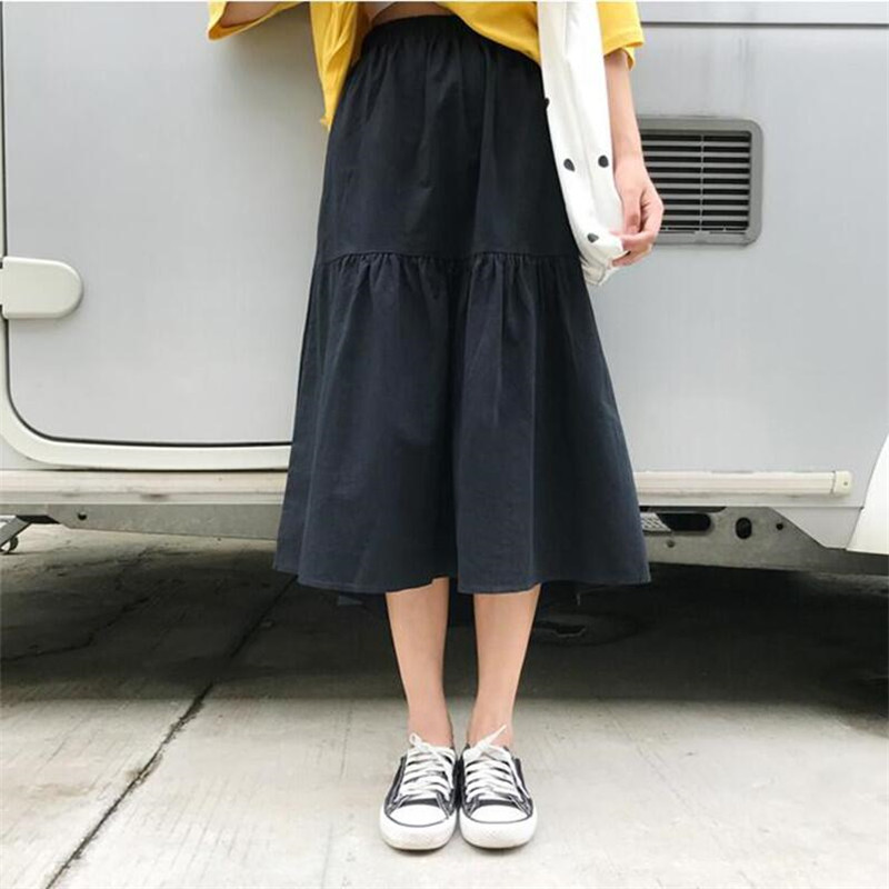 Autumn 2020 Cotton Linen Patchwork Elastic Waist Skirts <font><b>Women</b></font> <font><b>Plus</b></font> <font><b>Size</b></font> <font><b>7XL</b></font> Casual Summer Loose Skirts Girls Skirt Vestidos image