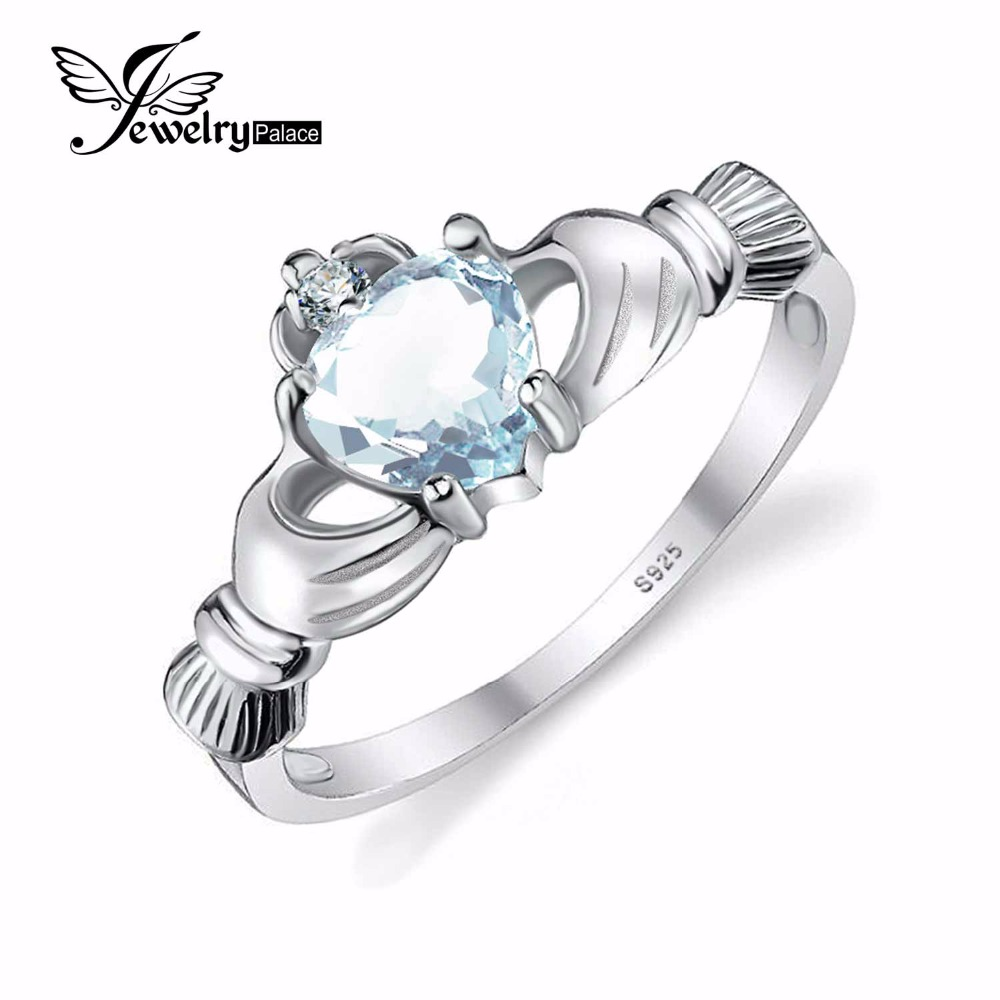 Natural Aquamarine Irish Claddagh Solid 925 Sterling Silver Ring