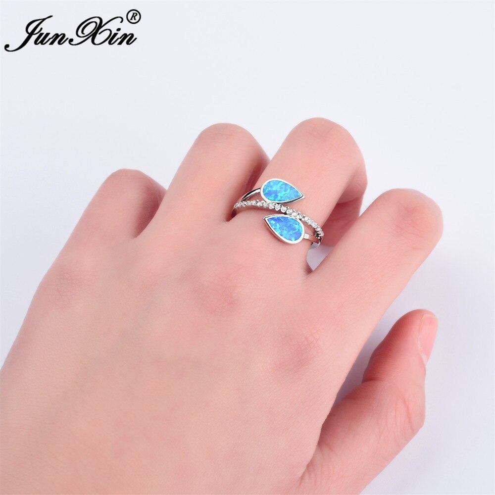 JUNXIN Men Women Blue Fire Opal Stone Ring Unique Water Drop Finger ...