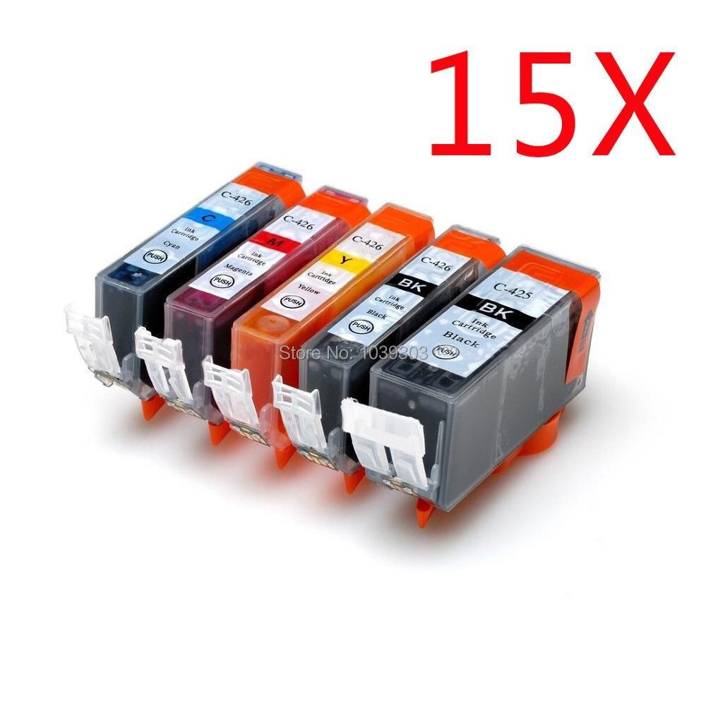 15 X W/Chip Compatible ink cartridge For canon PGI 425 CLI426 PIXMA IP4840/IP4940 IX6540 MG5140/MG5240/MG5340 MX714/MX884/MX894 5 x compatible ink cartridge for canon pgi 425 cli426 pixma ip4840 ip4940 ix6540 mg5140 mg5240 mg5340 mx714 mx884 mx894 printer