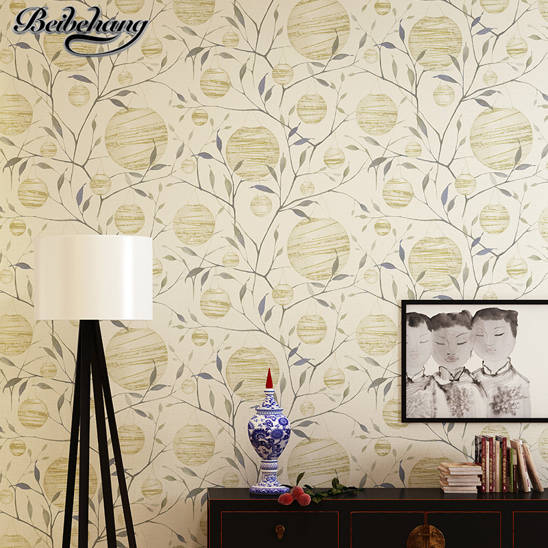 beibehang Wallpaper modern Chinese non-woven TV background wall paper hand-painted warm bedroom living room wallpaper Qiluo beibehang new children room wallpaper cartoon non woven striped wallpaper basketball football boy bedroom background wall paper