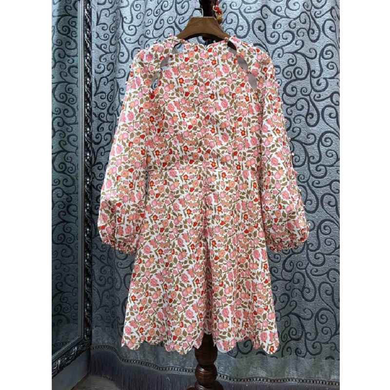 Latest Designer Fashion Autumn Dress 2019 High Quality Women Sweet Floral Print Vintage Buttons Long Sleeve Casual Club Dress