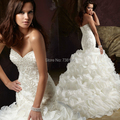 Promotion High quality Mermaid Style Sweetheart Zipper Button Ruffles Heavy Pearls Ivory wedding dress long for women