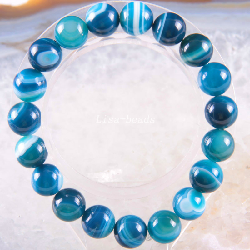 Free Shipping Stretch 10mm Round Beads Natural Stone Blue Veins Carnelian Bracelet 8