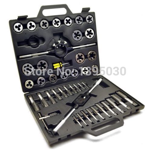 ФОТО  1Set Alloy steel 45pcs Metric/British Taper Tap Drill Bit Screw Die Thread Tool Set
